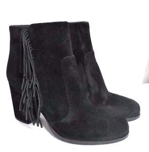 New-Via-Spiga-Suede-Black-Women-039-s-Heels-Fringe-Ankle-Boots-Booties-Size-6M