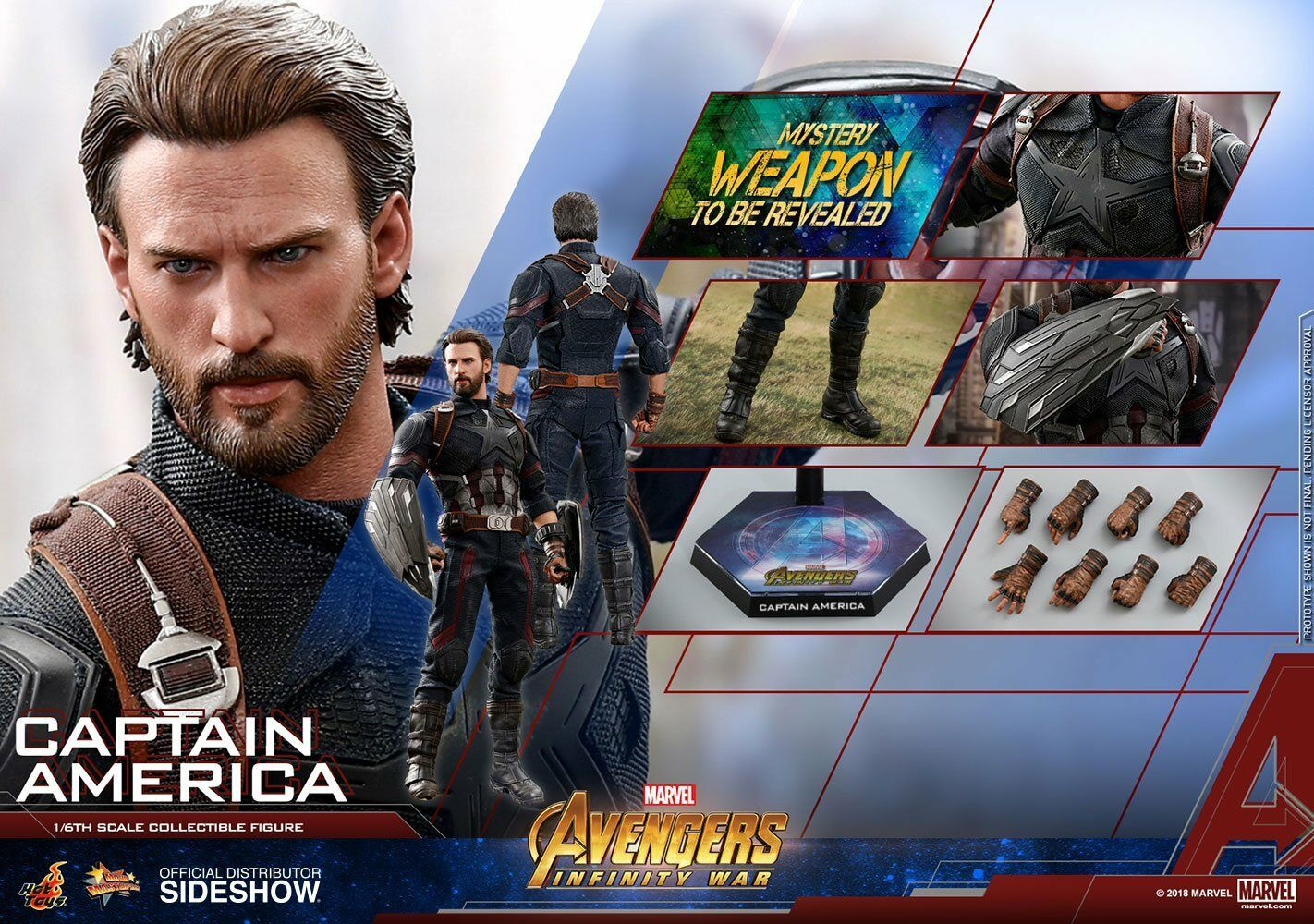 MARVEL  AVENGERS INFINITY WAR – CAPTAIN AMERICA 1 6 Action Figure 12″ HOT TOYS