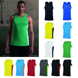 AWDis-Just-Cool-Contrast-Vest-Men-Summer-sports-gym-performance-tank-top-S-2XL