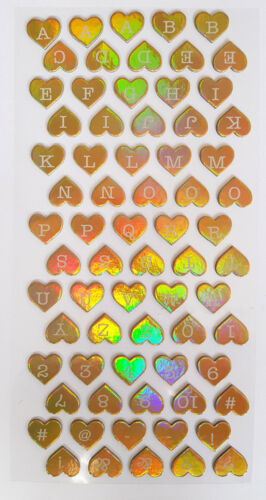 70 LETTERS//ALPHABET//NUMBER STICKERS-HEART//HOLOGRAPHIC//GOLD//3D//PINK STICKER-2CM