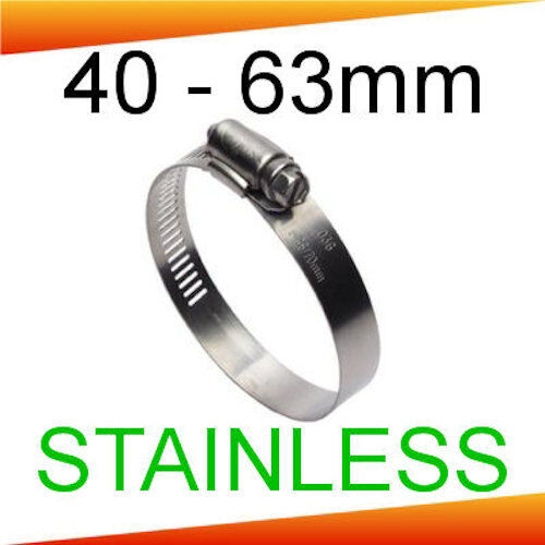 Stainless Steel 13mm Wide Hose Clips 40mm 2 PACK 63mm