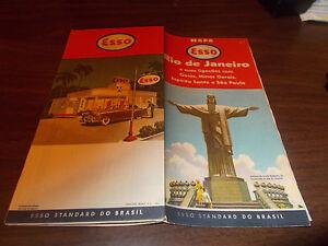 1954 Esso Rio de Janeiro Vintage Road Map Nice Cover Graphics