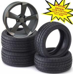 "17""rotor style alloy wheels vw golf audi/vw/tt/t4/a4/a3/a6/skoda with tyres"
