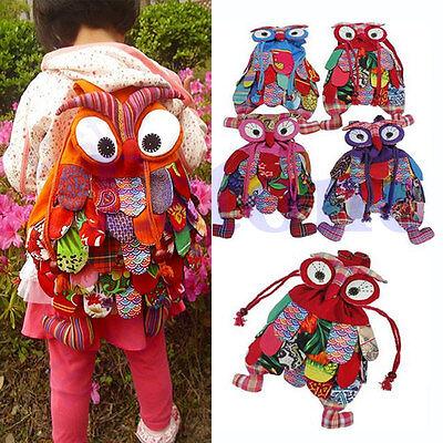 Kid Children Colorful Owl Ethnic Backpack Schoolbag Shoulder Book Bag Preschool