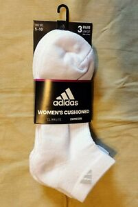 Adidas New Women's White 3 pairs Climalite Compression Socks Athletic 5-10