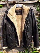 Zara Men's Synthetic Leather Flying Jacket, Fleece Lined, Size M