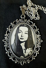 Morticia Addams Family Large Antique Silver Pendant Necklace Goth 1960s TV