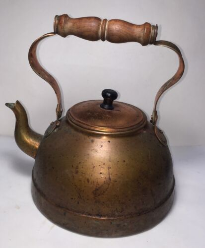 VINTAGE TAGUS COPPER TEAPOT TEA KETTLE WITH WOOD HANDLES-MADE IN PORTUGAL
