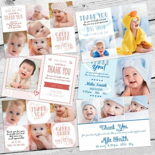 Baby Kids Christmas Photo Thank You Cards Personalised Boy Girl Postcard Style !