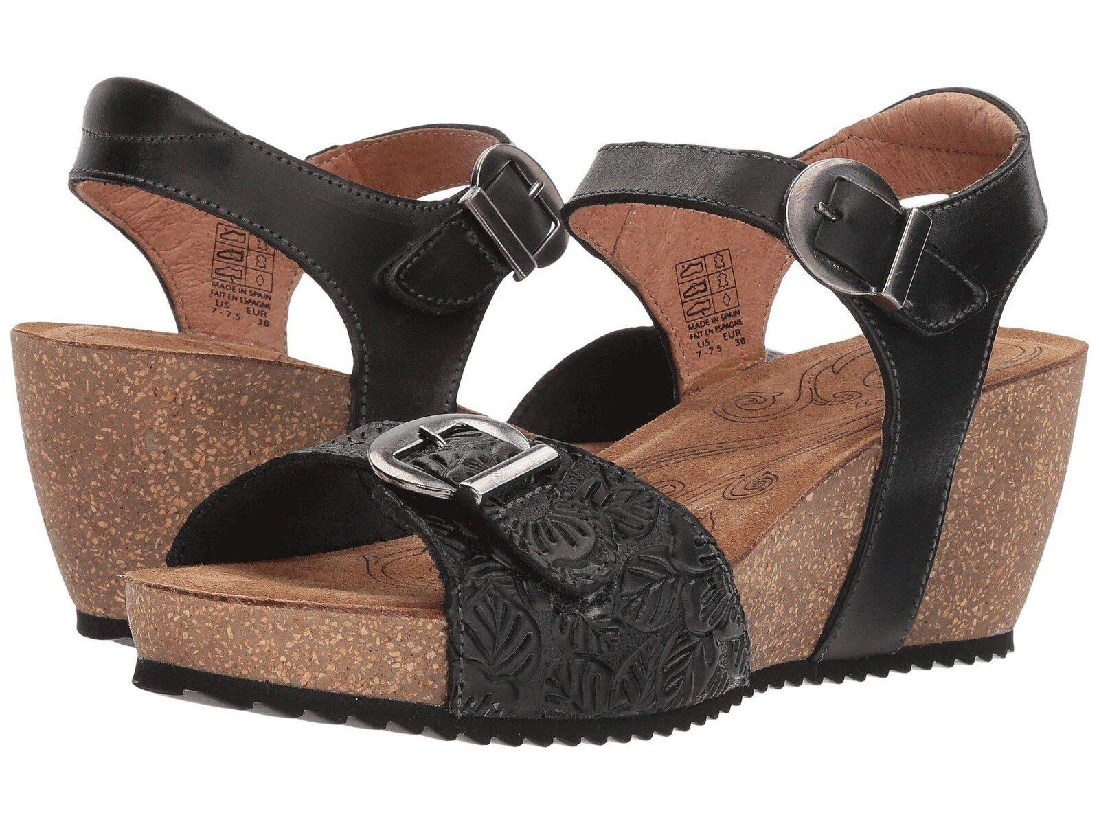 Taos Tallulah Black Platform Wedge Sandal Sandal Sandal US 9.5 EU 40 e0fd7b