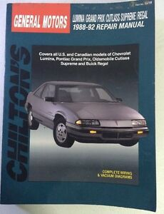 chilton 1988 1992 chevy lumina grand prix buick regal cutlass rh ebay com 1990 Cutlass Supreme 1990 Cutlass Supreme