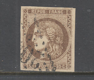 France-Sc-46-used-1870-71-30c-brown-on-yellowish-Ceres-4-margins-yellow-brown