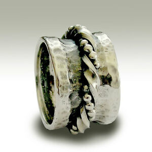 925-Sterling-Silver-Spinner-Wide-Ring-Twist-amp-Beaded-Handmade-Oxidized-15mm-New