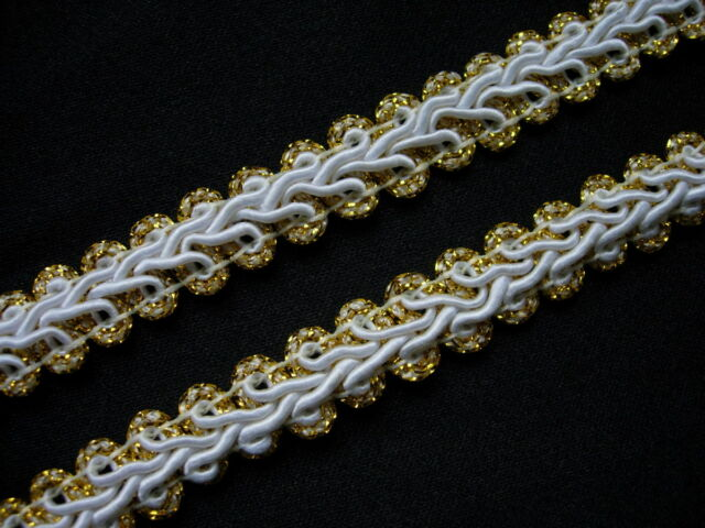 "GB01 3/8"" Gold Gimp Braid Lace Edge Designer Trim & Sewing 10yards"