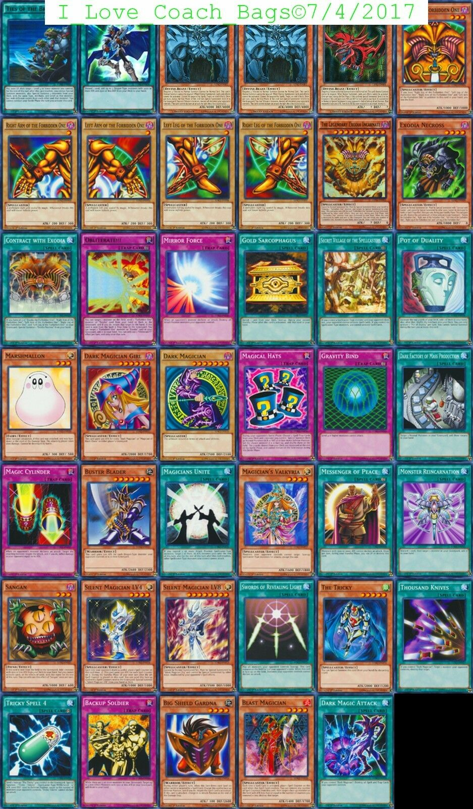Exodia The Forbidden Uno,Egyptian Dioses,Ties Of Brethern 43-Cards Cubierta Ldk2
