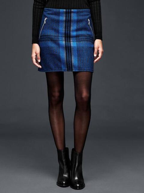 c0220faebb2b NEW GAP WOMENS Buffalo Plaid Mini Zip Wool Skirt Crimson Red Blue 10 M 14 L