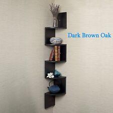 Home Corner Floating Wall Mount Zig Zag Wood Book Shelf Oak Shelves Hardware