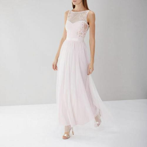 BNWT COAST HEIDI BlauSH Rosa EMBROIDErot CHIFFON PROM DRESS Größe UK 12