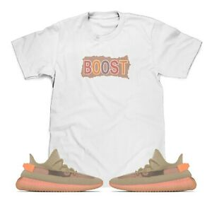 Boost-White-T-Shirt-Designed-To-Match-Adidas-Yeezy-Boost-V2-Clay-Sneakers-S-3XL