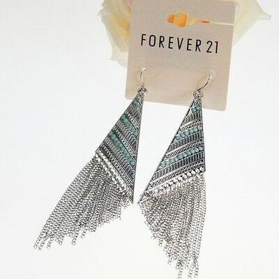 1920s retro BOHO style silver and turquoise coloured tassel chandelier earrings