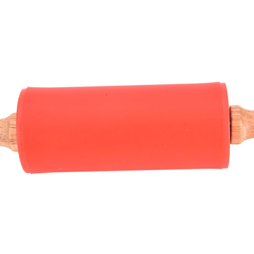 Wooden Handle Non-Stick Silicone Rolling Pin Dough Roller Kitchen Tools TS