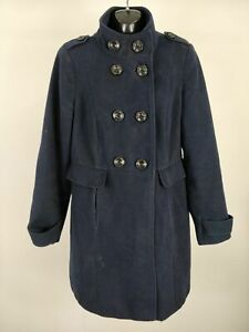 WOMENS-M-amp-S-MARKS-SPENCER-NAVY-BLUE-DOUBLE-BREASTED-BUTTON-COAT-JACKET-UK-12