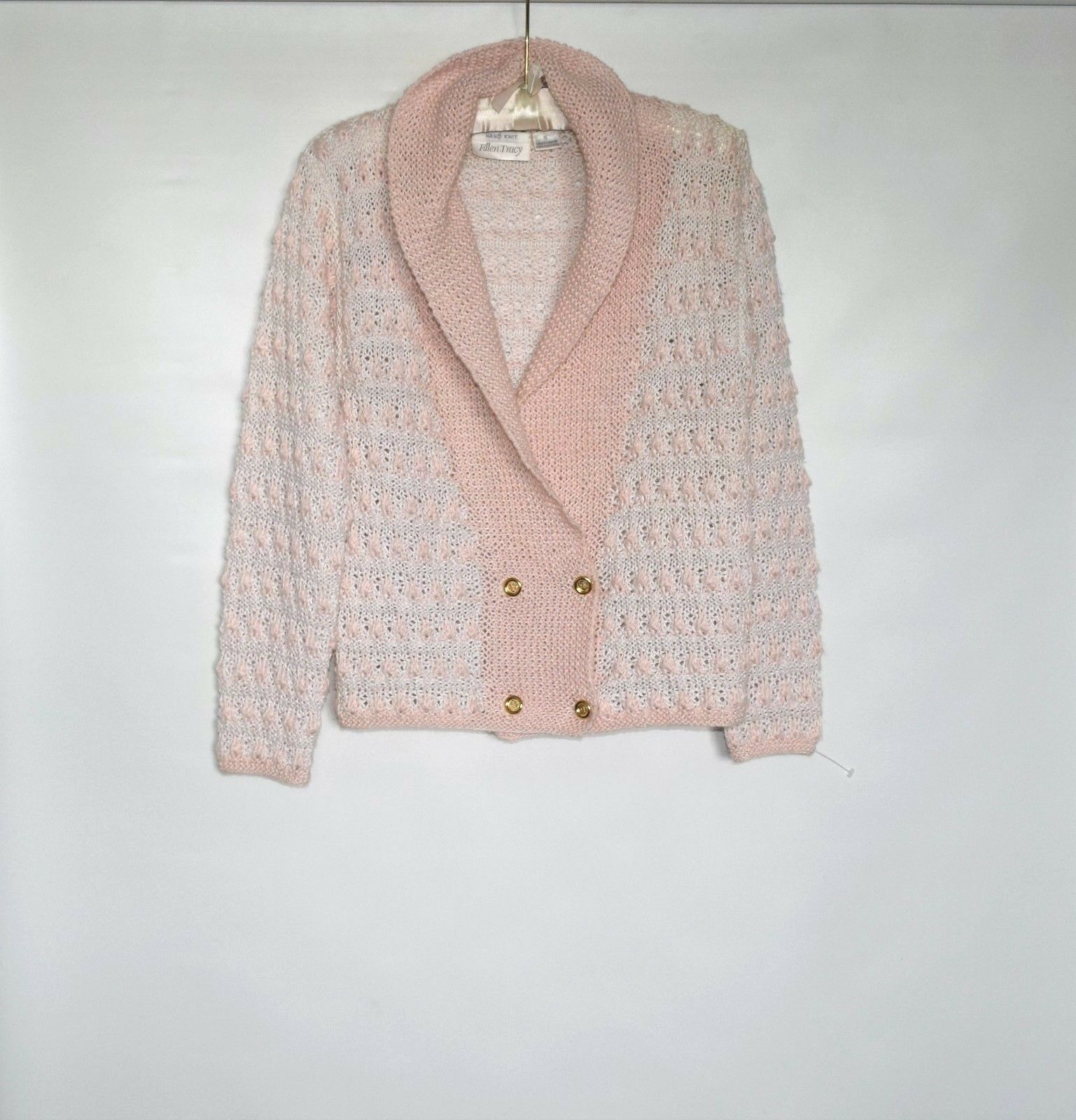 NWOT ELLEN TRACY Knitted by Hand 100% Linen Pink Womens Cardigan Sweater Size S