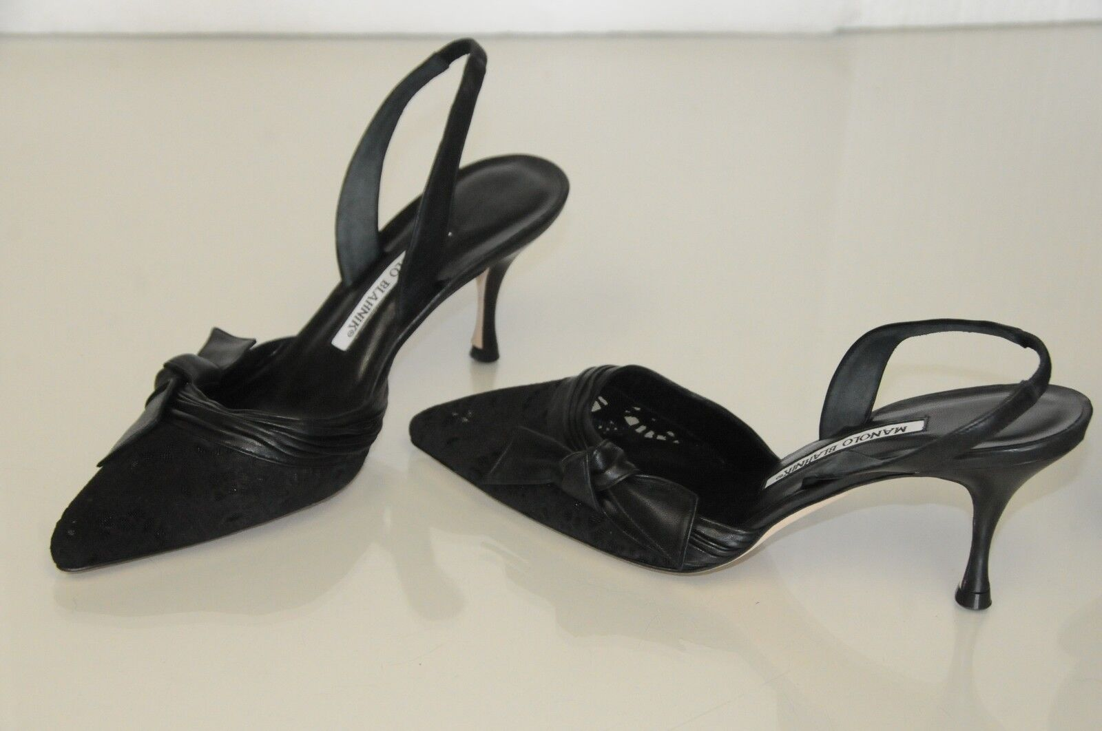 NEW MANOLO BLAHNIK CAROLYNE PUMPS LASER SUEDE on Mesh BLACK BLACK Mesh LEATHER BOW SHOES 37 287dac
