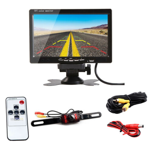 """7/"""" TFT LCD Monitor+Car Rear View Backup Camera Night Vision 20FT Wired System"""