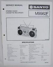 SANYO M9982F Cassette Boombox Original SERVICE MANUAL Ghetto Blaster M-9982F