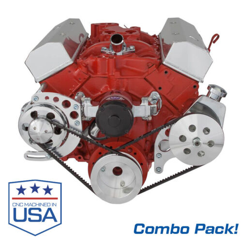 Small Block Chevy Electric Water Pump with ALT and PS Brackets; 283 327 350 SBC