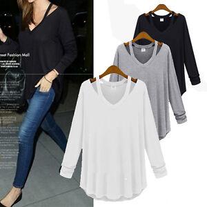 2017-Fashion-Womens-V-Neck-Off-Shoulder-Long-Sleeve-Loose-T-Shirt-Blouse-Tops