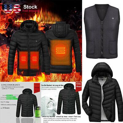 Electric Vest Heated Jacket USB Thermal Winter Warm Heating Coat Body Warmer US