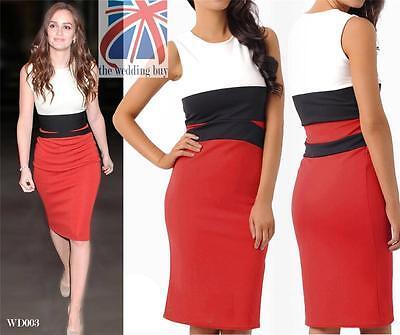 Womens Celebrity Midi Bodycon Red Pencil Evening Slimming Panel Tea Dress WD003