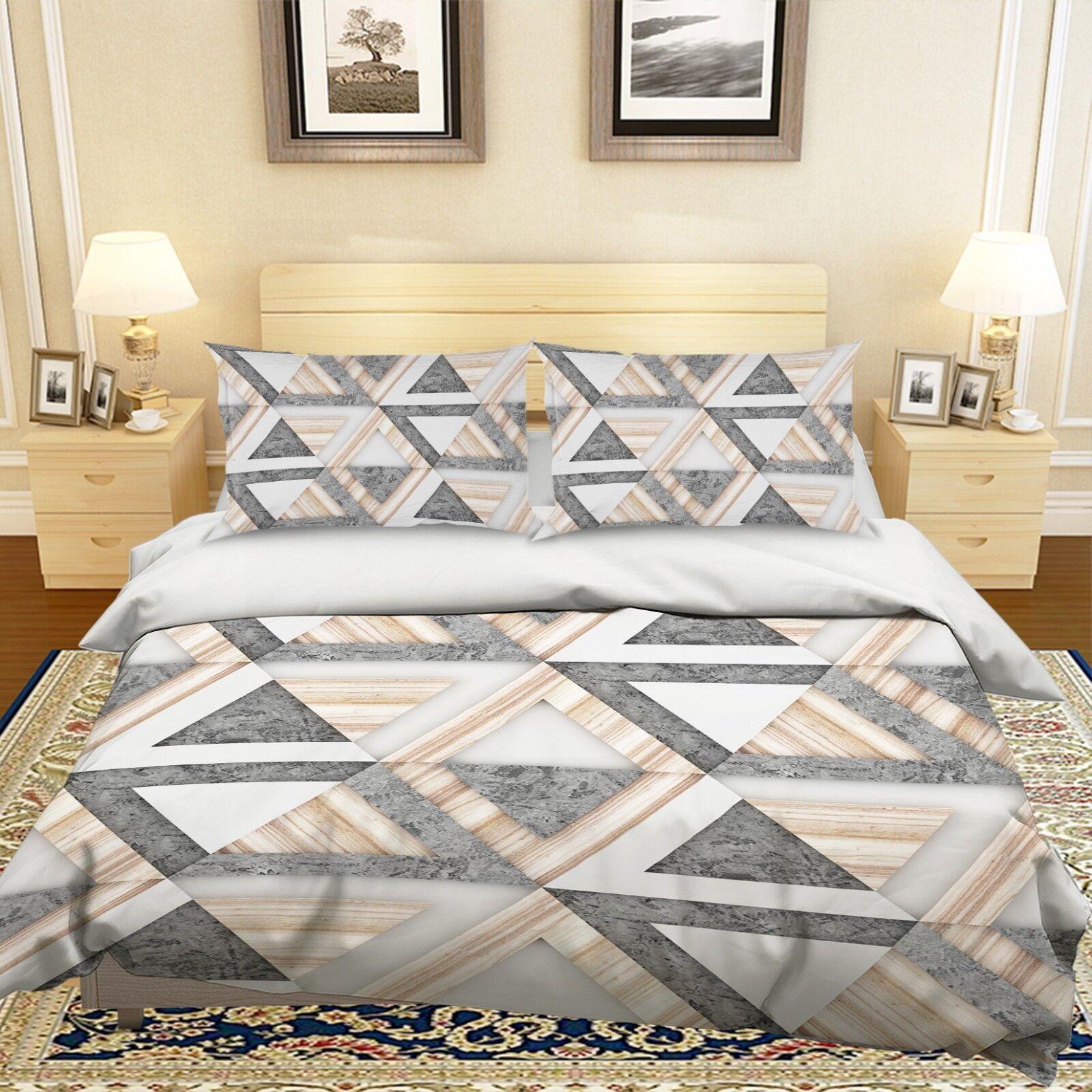 3D Marmor Holz Dreieck 5 Bett Kissenbezüge steppen Duvet Decken Set Single DE