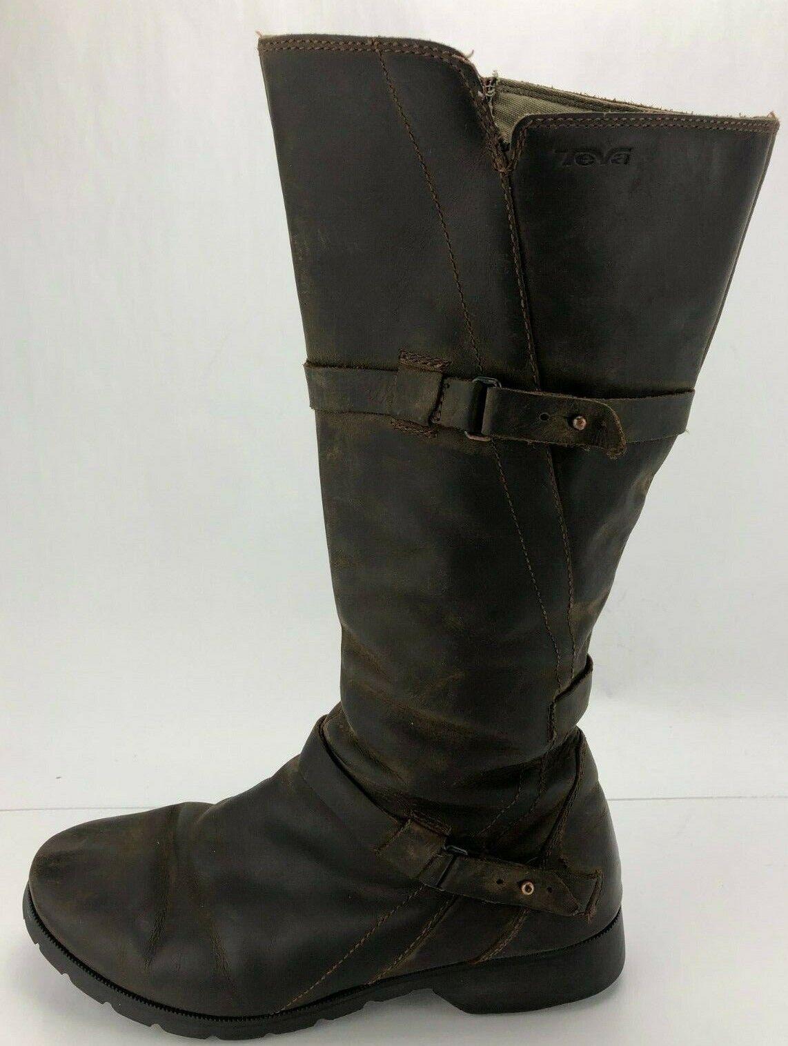Teva De La Vina Boots  Tall Brown Brown Brown Leather Waterproof Riding Knee High Womens 8 a422bb