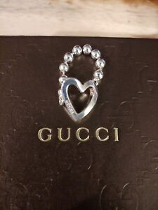 d46ed6c7dd18e Details about Authentic Gucci Heart Ring Gucci Boule Bead Link Sterling  Silver Size 7 Gift