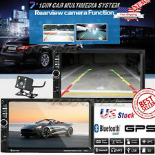 Double 2DIN Car Stereo Radio MP5 Player Bluetooth GPS Navigation with Map Camera