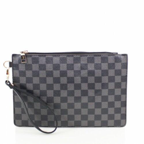 Women/'s Ladies Fashion A Scacchi busta frizione sera Strap Bag Purse Wallet