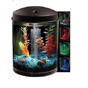 2 gal starter aquarium kit led light fish tank bowl filter for Small fish bowl filter