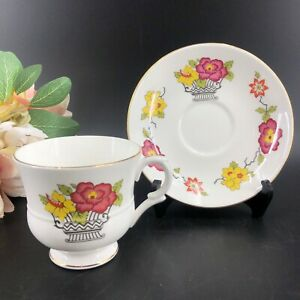 Vintage-Staffordshire-Flower-Basket-Bone-China-Tea-Cup-and-Saucer-2224B-England