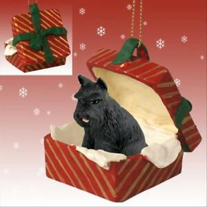 Schnauzer Black Cropped Ears Dog RED Gift Box Holiday ...
