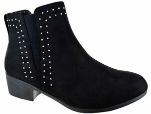 WOMENS-LADIES-BLOCK-HEEL-ANKLE-STUDDED-DIAMANTE-CHELSEA-SHOES-BOOTS-SIZE-3-8