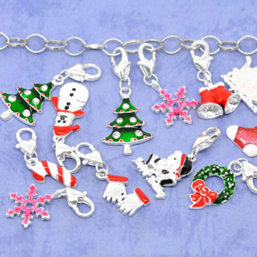 Fit Chain Bracelet W09 20Mixed Christmas Clip On Charms