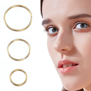 3x-Nose-Ring-Open-Hoop-Lip-Body-Piercing-Clip-On-Studs-Stainless-Steel-Jewelry-J