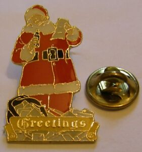 COCA-COLA-SANTA-CLAUS-GREETINGS-stamped-Coca-1998-vintage-pin