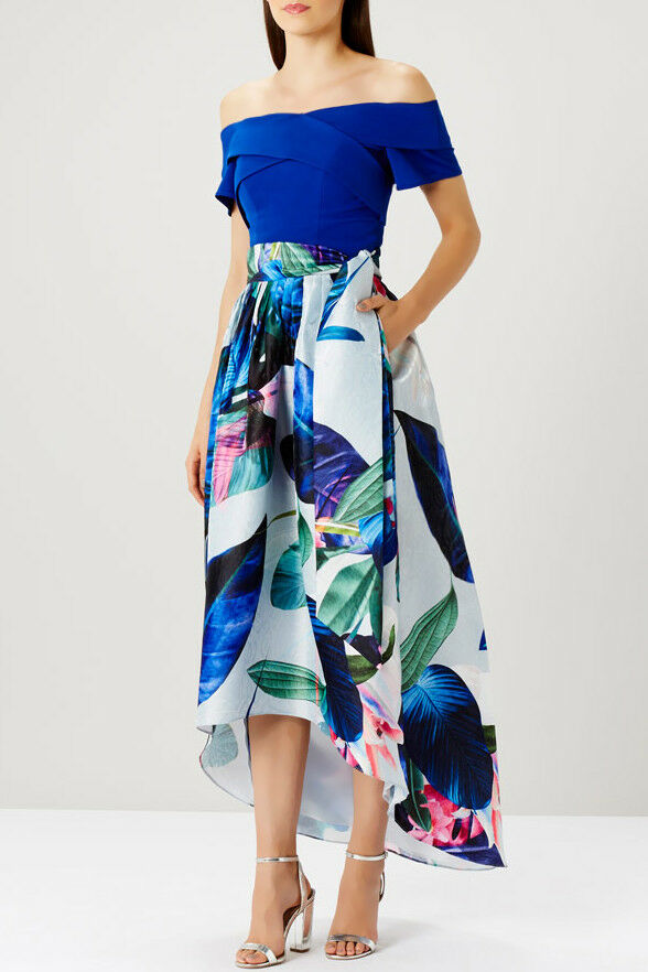 Coast Howea Palm Print High Low Midi Skirt Sizes 6 to 14