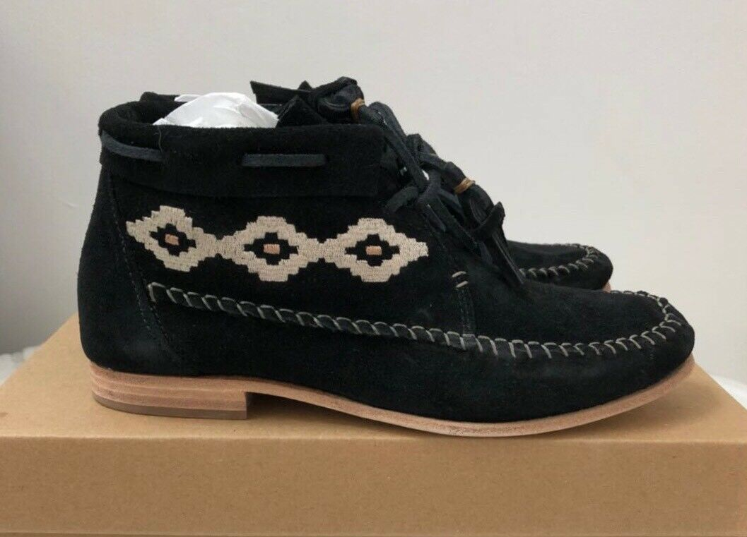140 Soludos Black Suede Moccasin Tassel Ankle Ankle Ankle Boots 7M f903b7