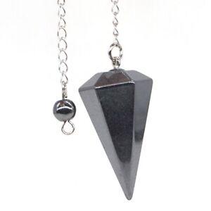 Natural-Gemstone-Hematite-Bonded-Pendulum-Healing-Crystal-Reiki-Dowsing-Tool