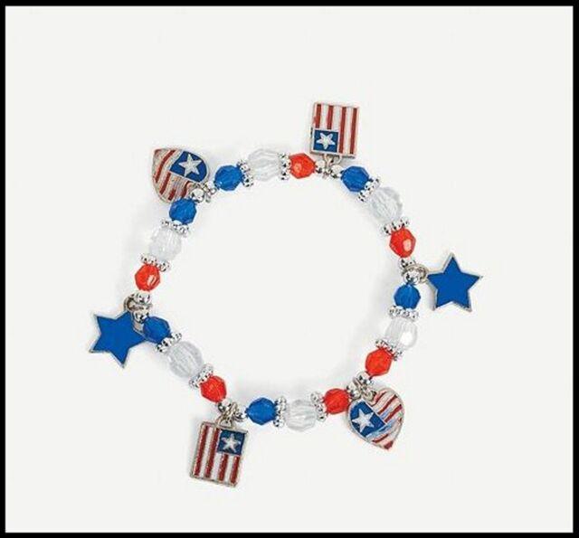 Enamel July 4th Usa Charm Bracelet Craft Kit For Kids Girls
